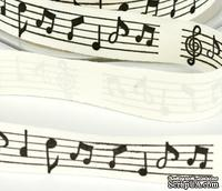 Лента Solid Ivory - Black & Gold Print Black Music Notes, ширина 19 мм, длина 90 см