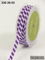 Лента GROSGRAIN /DIAGONAL STRIPES, цвет LIGHT PURPLE/PURPLE,  ширина 9,5мм, длина 90см