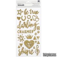 Стикеры с золотым глиттером  от Crate Paper - Shine Thickers Stickers- Beautiful Words & Icons/Gold Glitter, 79 шт. - ScrapUA.com