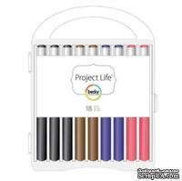 Набор ручек для журналинга Project Life by Becky Higgins - Project Life Journaling Pen Set - 18 Pack w/ Storage Case