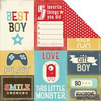 Лист скрапбумаги Carta Bella - Boy Oh Boy - Journaling Cards, двусторонняя, 30х30 см - ScrapUA.com