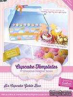 Шаблон-трафарет от  Crafters Companion -Cupcake Templates Collection - Six Cupcake Gable Box