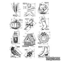 Резиновые штампы от Stampers Anonymous - Tim Holtz Large Cling Rubber Stamp Set Mini Blueprints