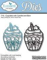 Нож  от   Elizabeth  Craft  Designs  -  Cupcake  with  Candle  and  Bow,  2  элемента.