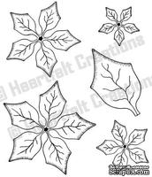 Набор штампиков от Heartfelt Creations - Petite Poinsettia PreCut Set, 5 шт.