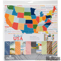 Набор скрапбумаги от Paper House - Paper Crafting Kit - Discover USA, 30 x 30 см