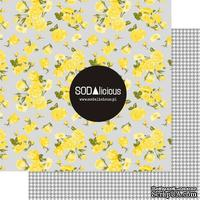 Лист скрапбумаги SODAlicious - Flower Power - hounstooth yellow mellow, двусторонний, 30х30 см