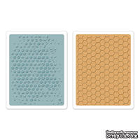 Папки для тиснения от Sizzix  - Texture Fades Embossing Folders 2PK - Bubble & Honeycomb Set, 2 шт.