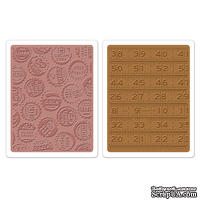 Набор папок для тиснения от Sizzix - Sizzix Texture Fades Embossing Folders 2PK - Bottle Caps & Rulers Set