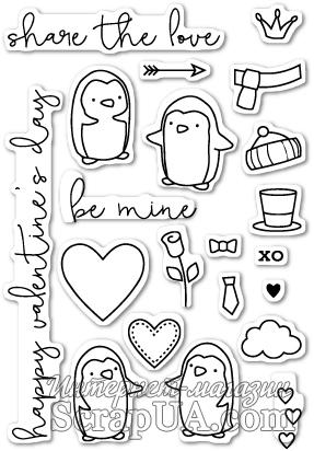 Штампы от Poppystamps - Be Mine Penguins clear stamp set