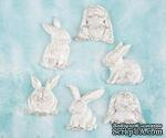 Набор украшений Prima - Shabby Chic Treasures Resin Embellishments  - Rabbits , 6 шт