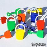 Набор брадсов Eyelet Outlet - Shovel & Bucket Brads, 12 штук - ScrapUA.com