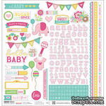 Наклейки от Paper House - Hello Baby Cardstock Stickers - Pink Girl, 30x30 см - ScrapUA.com