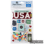 Наклейки от Paper House - 3D Stickers - Discover USA, 11,4x17,7 см, 13 шт - ScrapUA.com