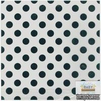 Ацетатный лист с фольгированием в голубой горошек от Blue Foil Dots, 30х30 см