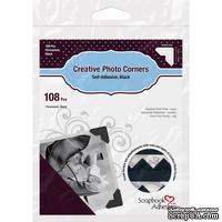 Уголки для фото Photo Corners Classic Style Self-Adhesive Photo Corners - черного цвета, 12мм, 108 шт.