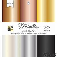 Набор фольгированного кардстока от DCWV - Metallics Foil Solid, 15х15 см, 6 цветов, 20 листов