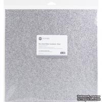 Глиттерный лист ETC Papers Non-Shed Glitter Cardstock, 30,5x30,5 см, цвет серебро, 1 шт.