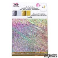 Набор термотрансферных  листов Tulip® Fashion Glitter® Shimmer Transfer Sheets, 22х28 см,  22х28 см, золото и серебро, 4 шт.