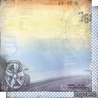 Лист двусторонней бумаги для скрапбукинга Автопарк 005, дизайн Елены Виноградовой, 30х30см, 200г/м5
