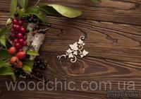 Чипборд большой завиток с листьями от WOODchic,  8 на 5см