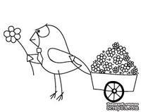 """Акриловые штампы """"Птица с тележкой цветов"""""""