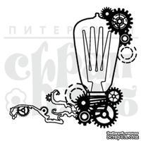 Штамп от Питерского Скрапклуба - Стимпанк. Лампочка, 4.3х4 см
