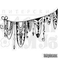 Штамп от Питерского Скрапклуба - Дудлинг. Флажки, 6х4.2 см