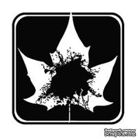 Акриловый штамп ''Лист в квадрате с 1 кляксой''