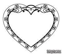 Штамп от Питерского Скрапклуба - Рамка-Сердце (Сердечные Надписи)