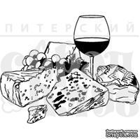 Штамп от Питерского Скрапклуба - Франция. Сыр, Вино И Виноград, 3.8х3 см