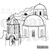 Штамп от Питерского Скрапклуба - Греция. Синие Крыши, 6х5.3 см