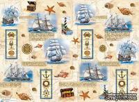 """Декупажная карта """"Морские мотивы"""", размер: 29,5х40 см"""