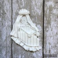 Колыбелька, пластиковое украшение от Е.В.A, белая, 4х5см