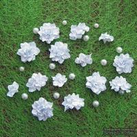 Азалия, бумажные цветы ручной работы, 7 штук, цвет белый
