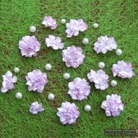 Азалия, бумажные цветы ручной работы, 7 штук, цвет бело-розовый