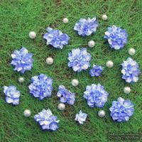Азалия, бумажные цветы ручной работы, 7 штук, цвет синий с белым