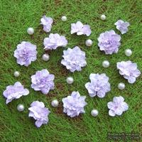 Азалия, бумажные цветы ручной работы, 7 штук, цвет бело-сиреневый