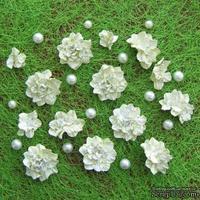 Азалия, бумажные цветы ручной работы, 7 штук, цвет салатовый