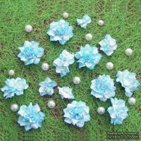 Азалия, бумажные цветы ручной работы, 7 штук, цвет бело-голубой