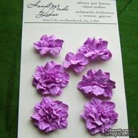 Азалия, бумажные цветы ручной работы, 7 штук, цвет фиолетово-розовый
