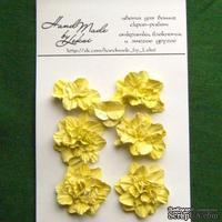 Азалия, бумажные цветы ручной работы, 7 штук, цвет желтый
