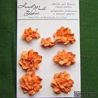 Азалия, бумажные цветы ручной работы, 7 штук, цвет оранжевый