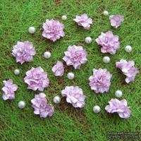 Азалия, бумажные цветы ручной работы, 7 штук, бело-розовый
