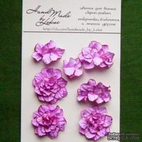 Азалия, бумажные цветы ручной работы, 7 штук, цвет фиолетово-розовый с тонировкой