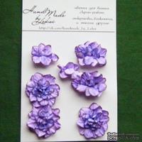 Азалия, бумажные цветы ручной работы, 7 штук, цвет фиолетовый с тонировкой