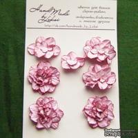 Азалия, бумажные цветы ручной работы, 7 штук, цвет розовый с тонировкой