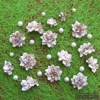 Азалия, бумажные цветы ручной работы, 7 штук, цвет светло-коричневый с тонировкой