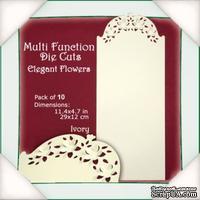 Заготовки для открытки от Flower Soft - Function Die Cut Cards - Elegant Flowers - Ivory, 29x12см