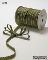 Лента GGRAIN/STITCHED EDGE, цвет OLIVE/WHITE, ширина 9,5мм, длина 90см